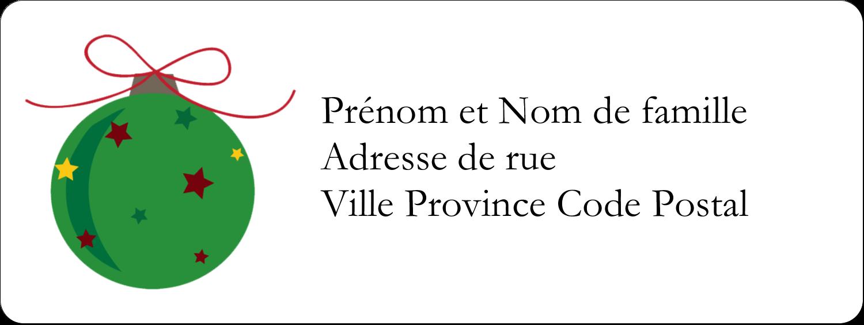 """1½"""" x 4"""" Étiquettes D'Adresse - Boule étoilée"""