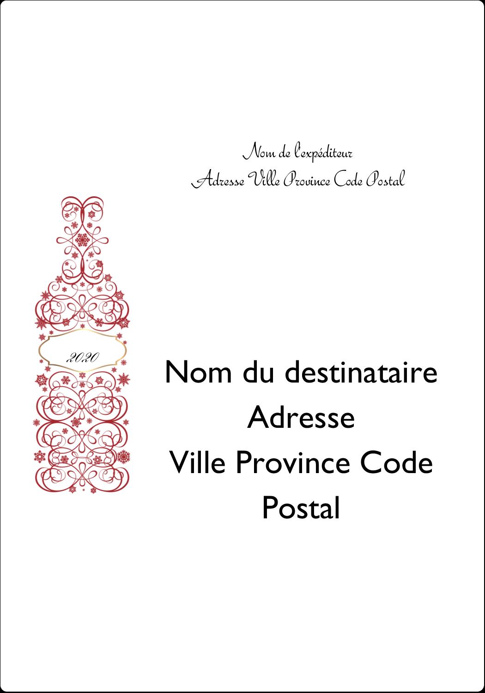 """⅔"""" x 1¾"""" Étiquettes D'Adresse - Bouteille de champagne en spirale"""