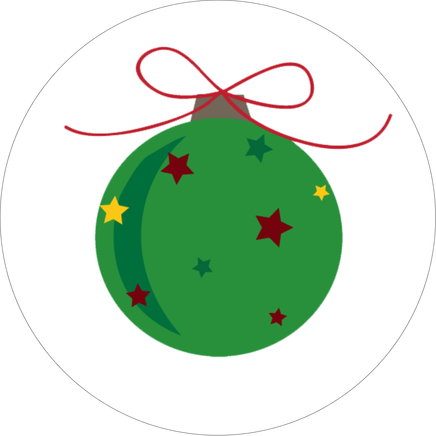 "2"" Round Label - Star Ornament"