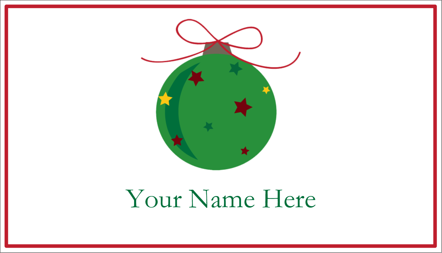 "2"" x 3½"" Business Card - Star Ornament"