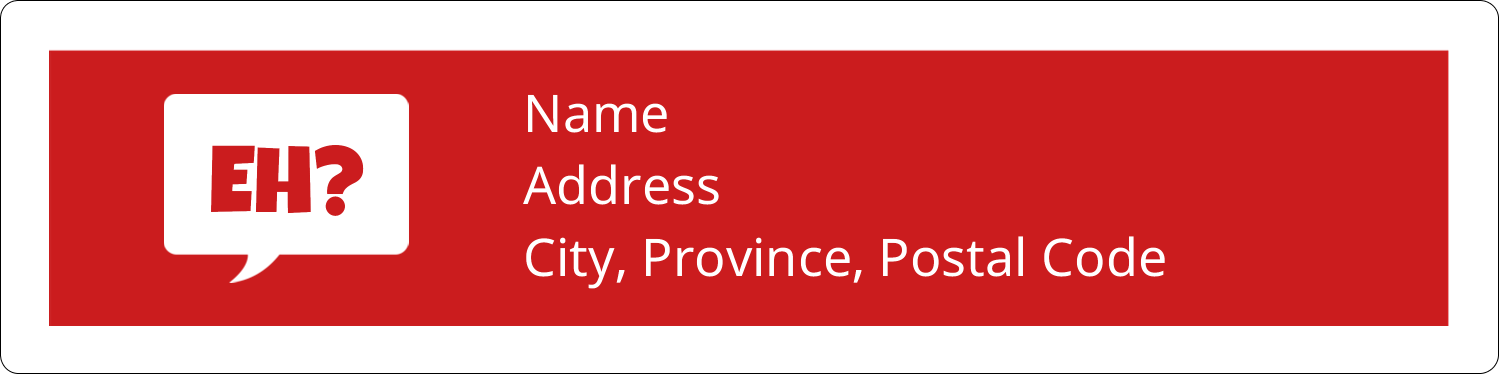 "1"" x 4"" Address Label - Speak Canadian, Eh? - Red"