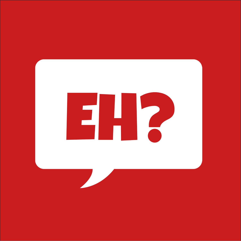"""1½"""" x 1½"""" Square Label - Speak Canadian, Eh? - Red"""