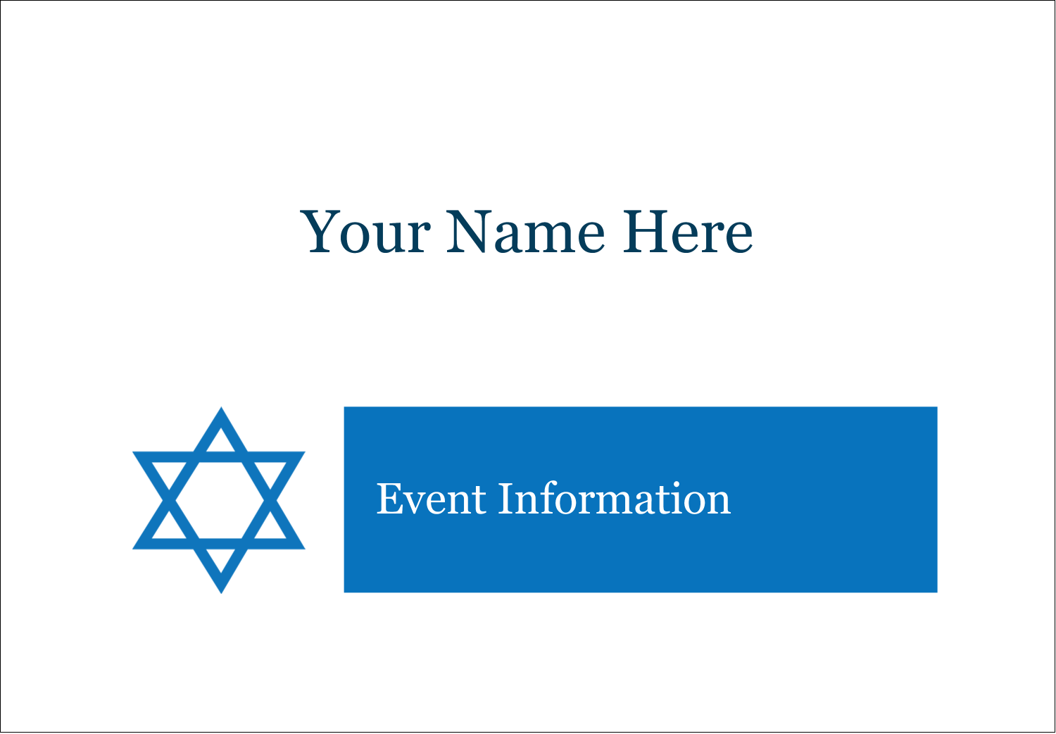 "2-11/12"" x 3⅜"" Name Badge Label - Star of David"