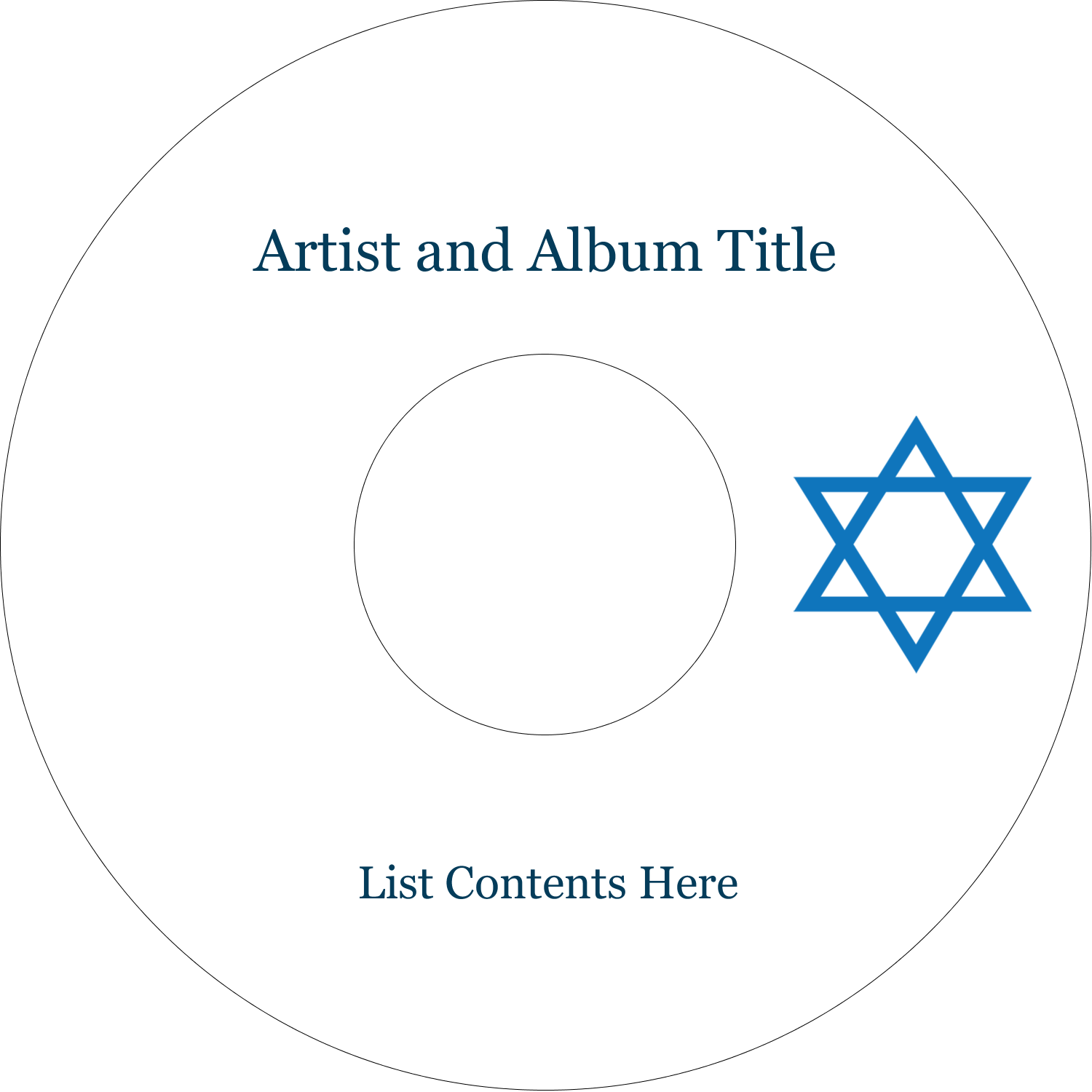 "4.65"" CD-DVD Label - Star of David"
