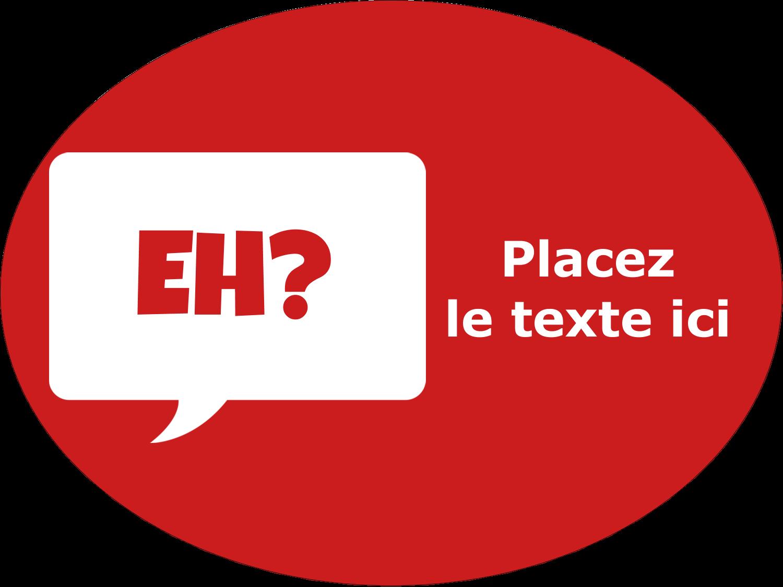 """3"""" x 4"""" Étiquettes ovales - Parlez-vous canadien eh? (Rouge)"""