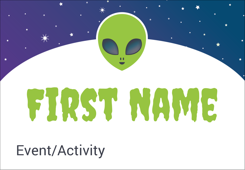 "3⅜"" x 2⅓"" Name Badge - Alien Party"
