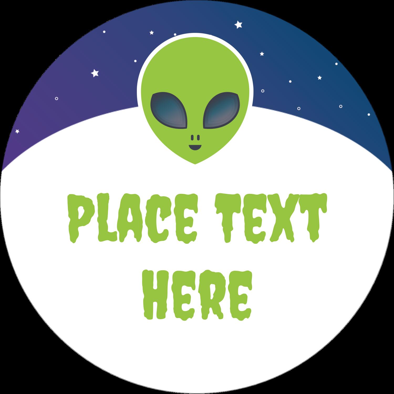 "2"" Round Label - Alien Party"