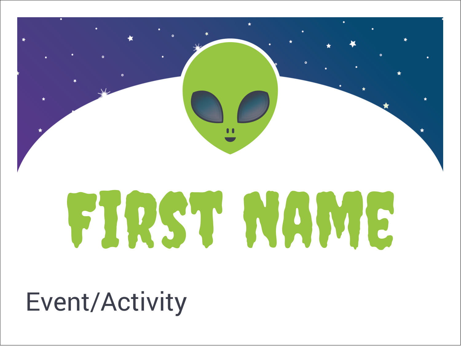 "3"" x 4"" Name Tags - Alien Party"