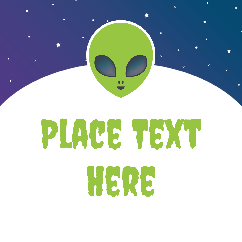 """2"""" x 2"""" Sqaure Label - Alien Party"""