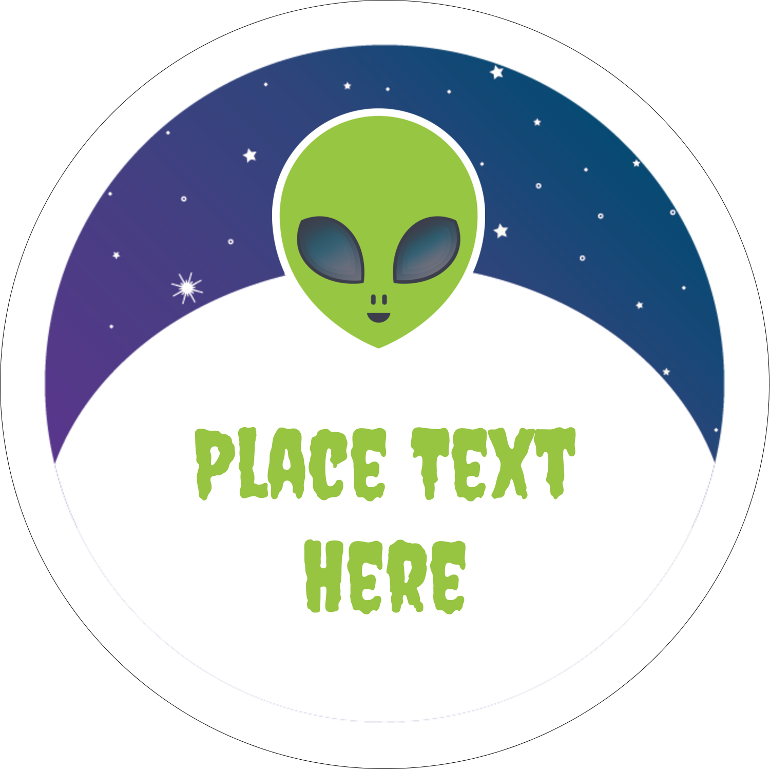 "2"" Embossed Round Label - Alien Party"
