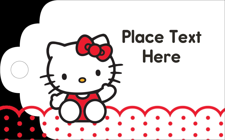 """2"""" x 1⅛"""" Printable Tags - Hello Kitty Waving"""