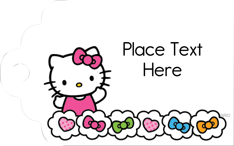 "2"" x 1⅛"" Printable Tags - Hello Kitty Hearts and Bows"