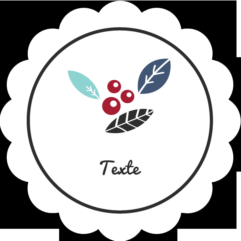 """2"""" Diameter Étiquettes festonnées - Feuillu"""