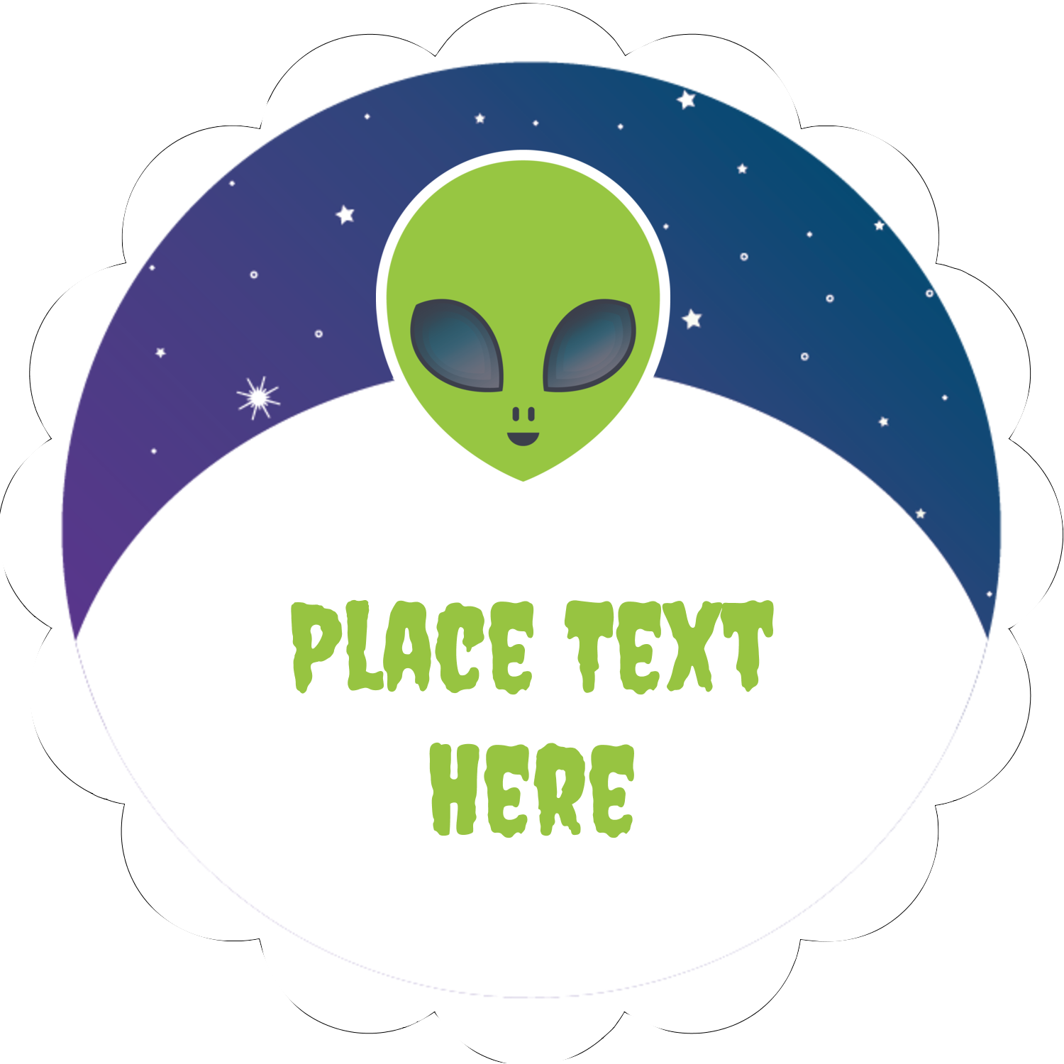 "2"" Scallop Oval Label - Alien Party"
