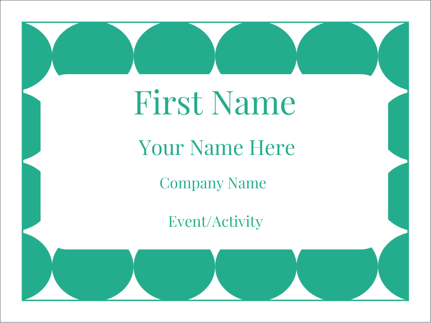 "3"" x 4"" Name Tags - Teal Green Circles"