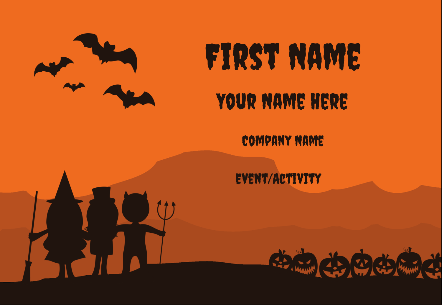 "3⅜"" x 2⅓"" Name Badge - Halloween Kids"