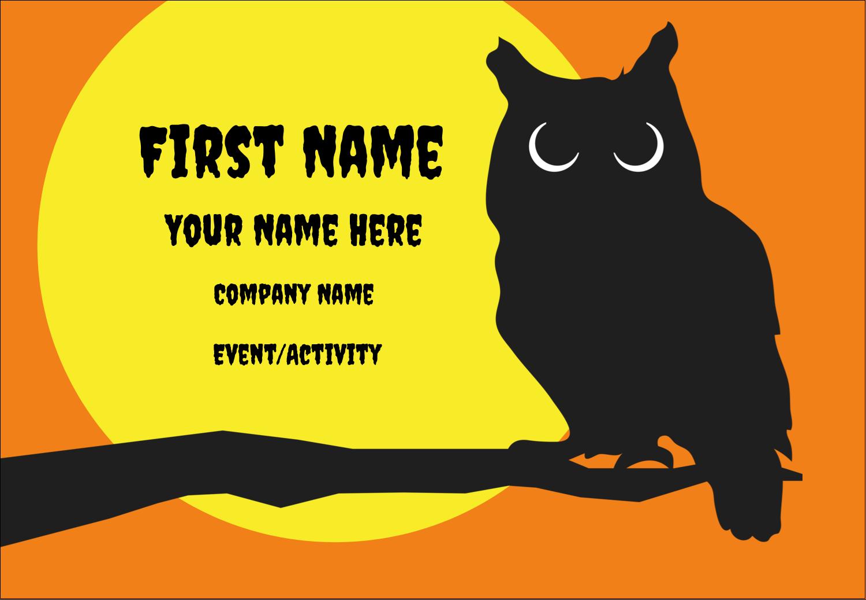 "3⅜"" x 2⅓"" Name Badge - Halloween Owl"