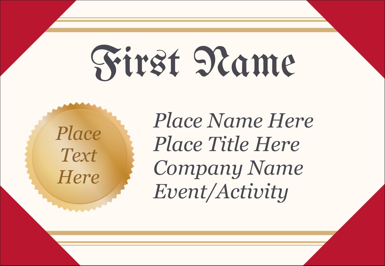 "3⅜"" x 2⅓"" Name Badge - Grad Diploma"