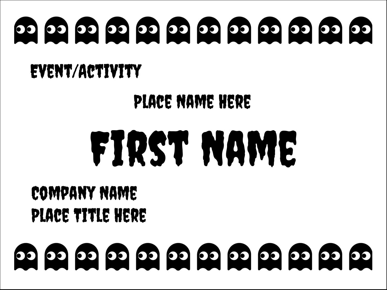 "3"" x 4"" Name Tags - Halloween Pac-Man Ghosts"