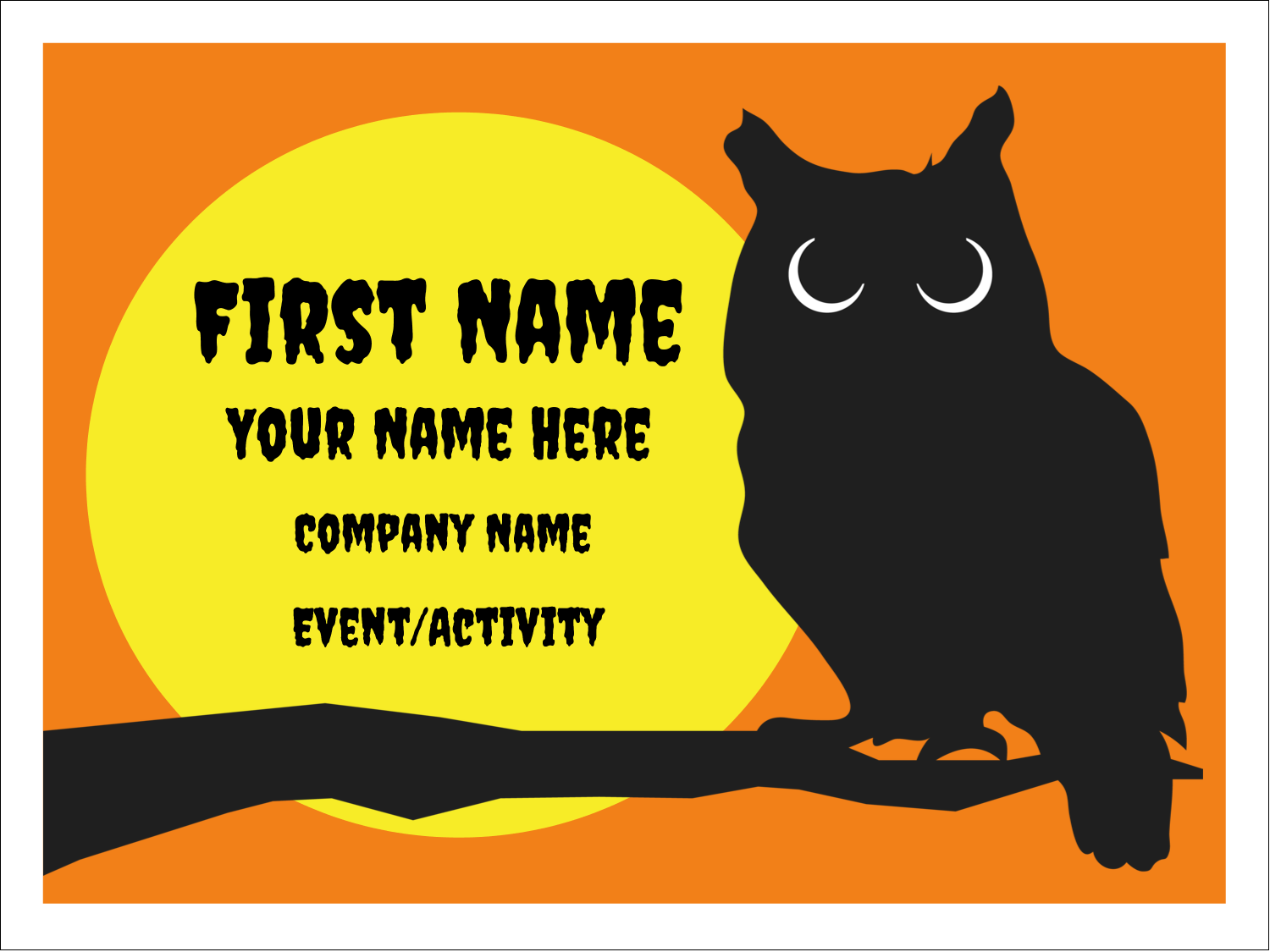 "3"" x 4"" Name Tags - Halloween Owl"