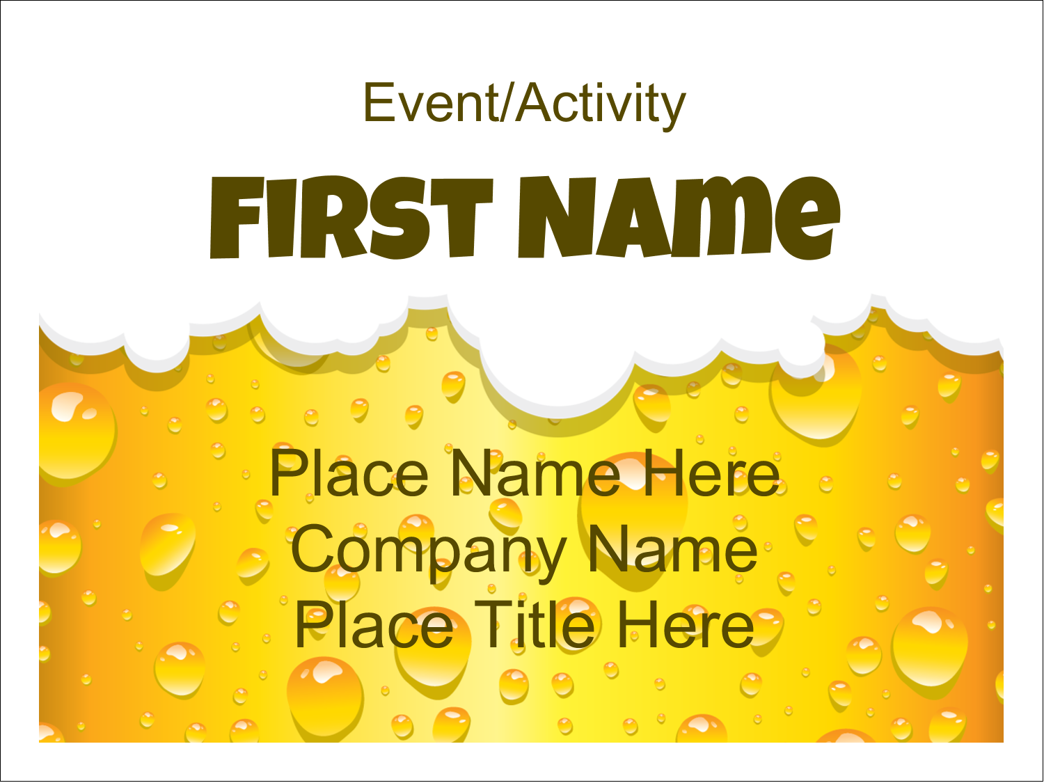 "3"" x 4"" Name Tags - Beer Image"