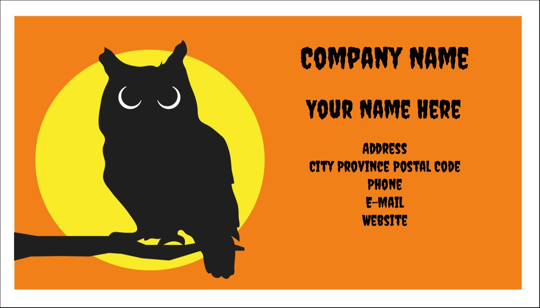 "2"" x 3½"" Business Card - Halloween Owl"