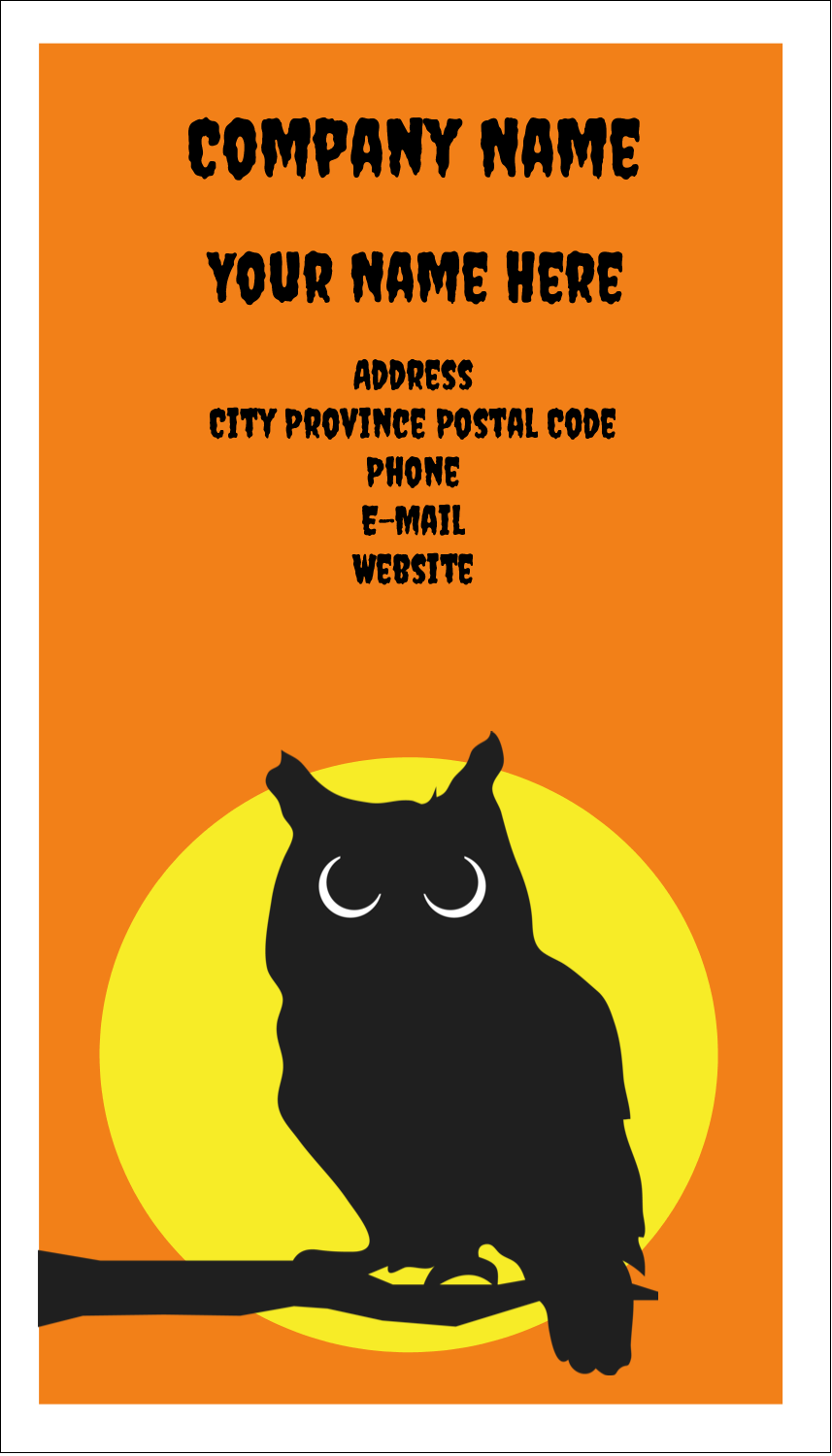"3½"" x 2"" Business Card - Halloween Owl"