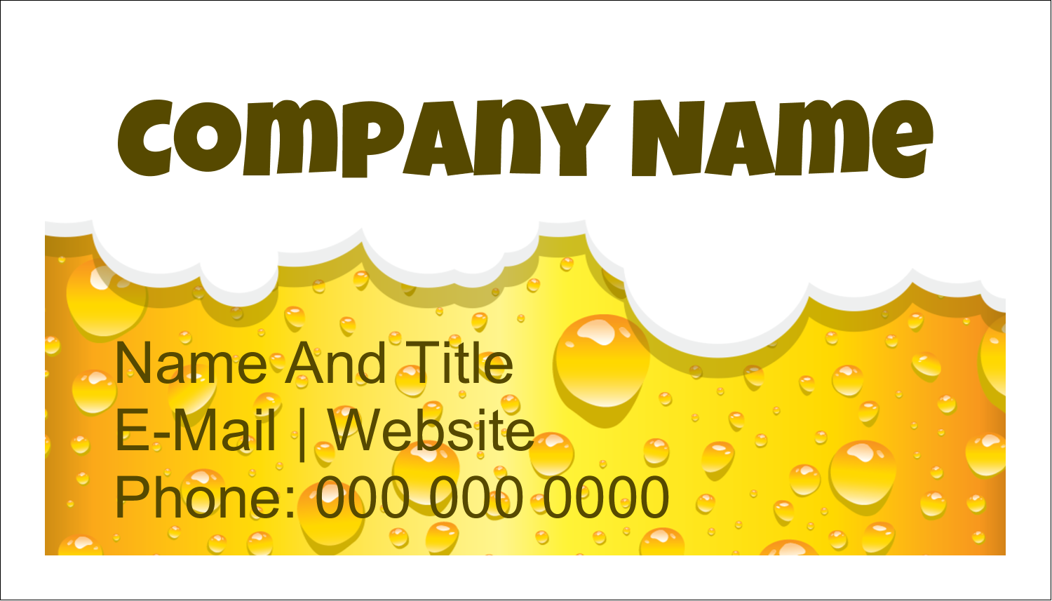 "2"" x 3½"" Business Card - Beer Image"