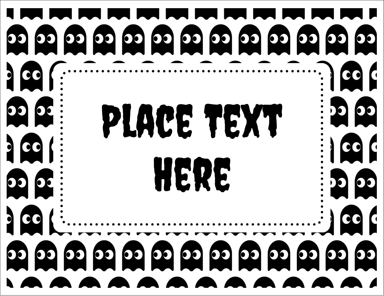 """5½"""" x 4¼"""" Note Card - Halloween Pac-Man Ghosts"""