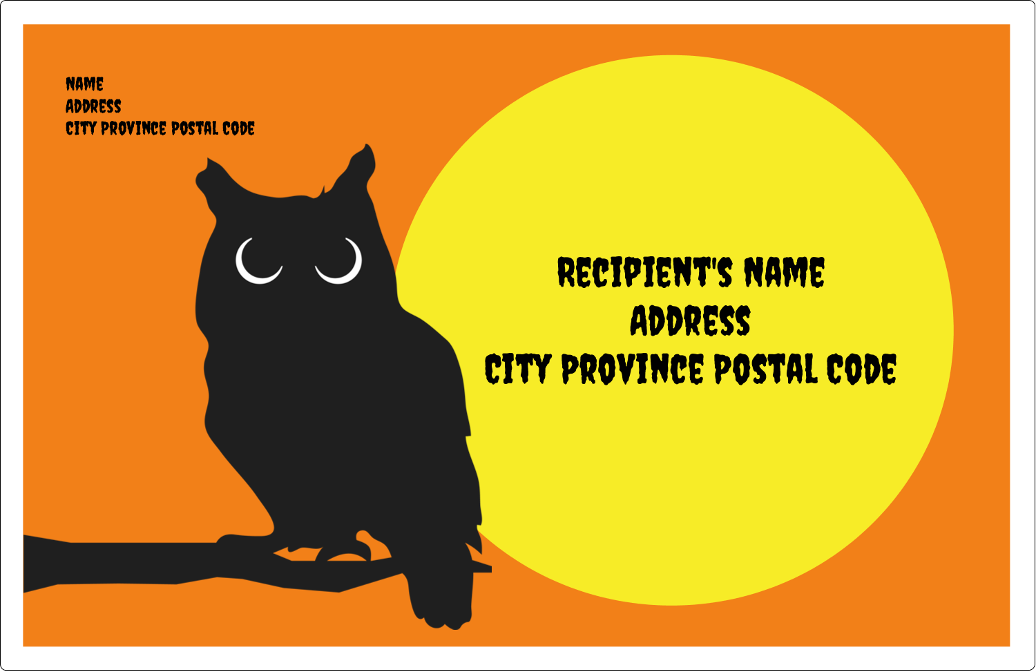 "5½"" x 8½"" Shipping Label - Halloween Owl"