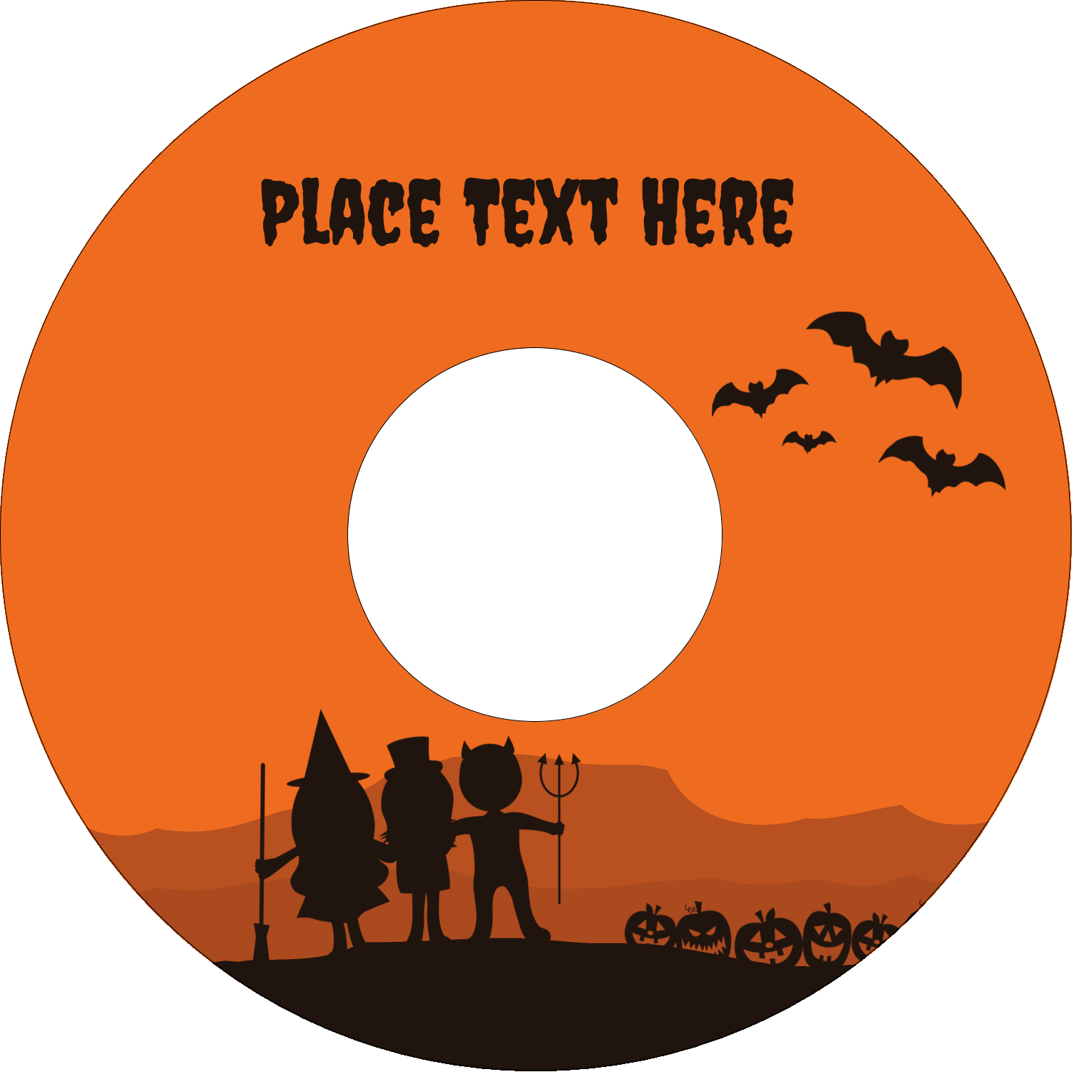 "4.65"" CD-DVD Label - Halloween Kids"