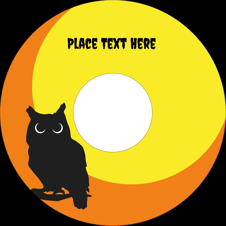 "4.65"" CD-DVD Label - Halloween Owl"