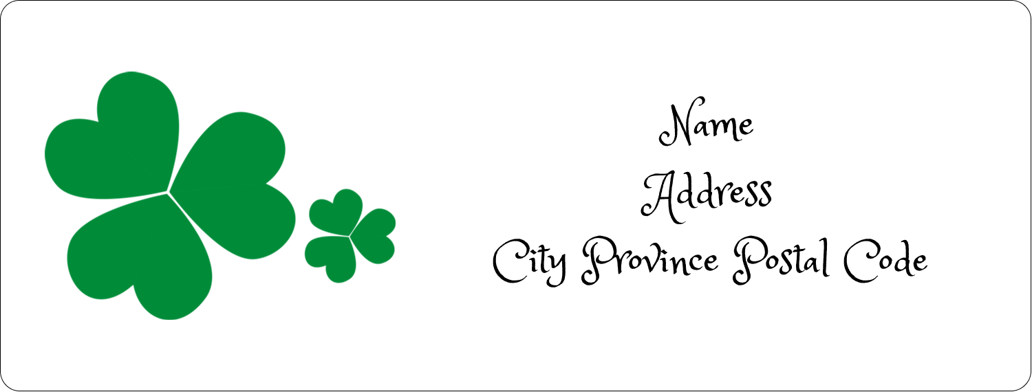"1"" x 2⅝"" Address Label - St. Patrick's Shamrock Background"