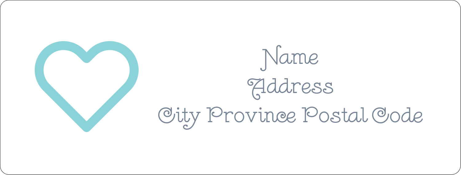 "1"" x 2⅝"" Address Label - Blue Heart"