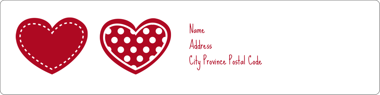 "1"" x 4"" Address Label - Valentine Heart Pattern"