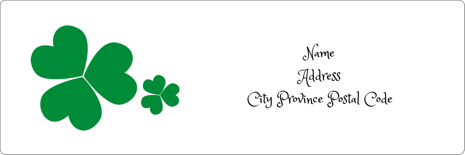 "1⅓"" x 4"" Address Label - St. Patrick's Shamrock Background"