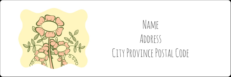 "1⅓"" x 4"" Address Label - Flower Sketch"