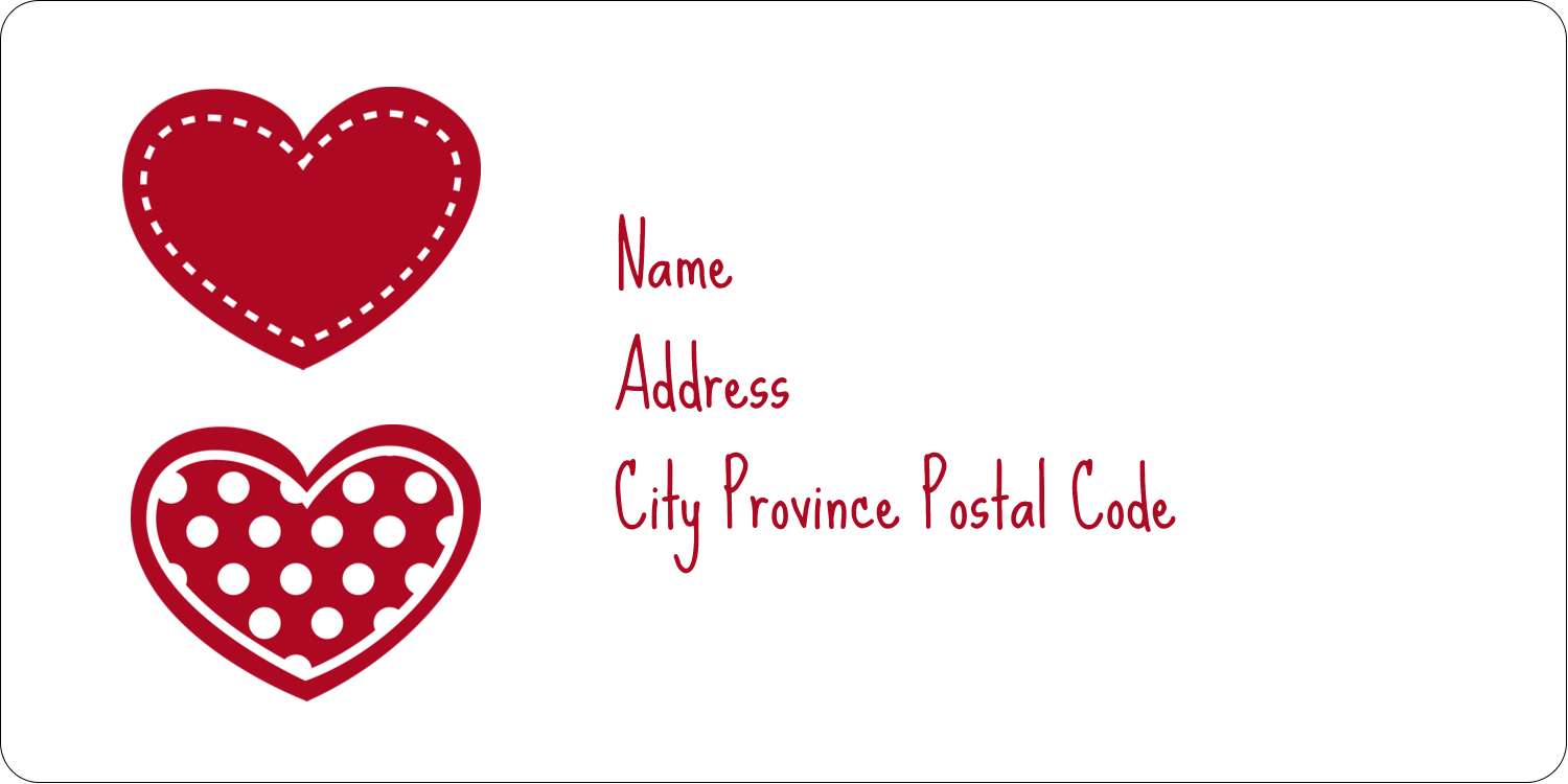 "2"" x 4"" Shipping Label - Valentine Heart Pattern"