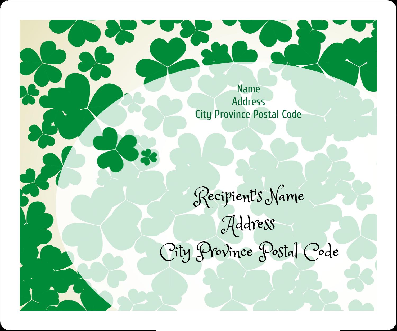 "3⅓"" x 4"" Shipping Label - St. Patrick's Shamrock Background"