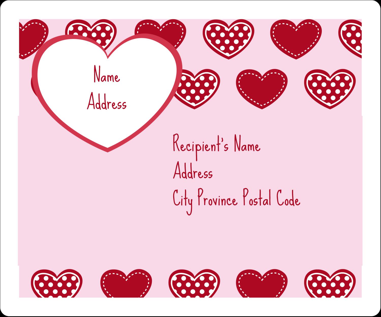 "3⅓"" x 4"" Shipping Label - Valentine Heart Pattern"