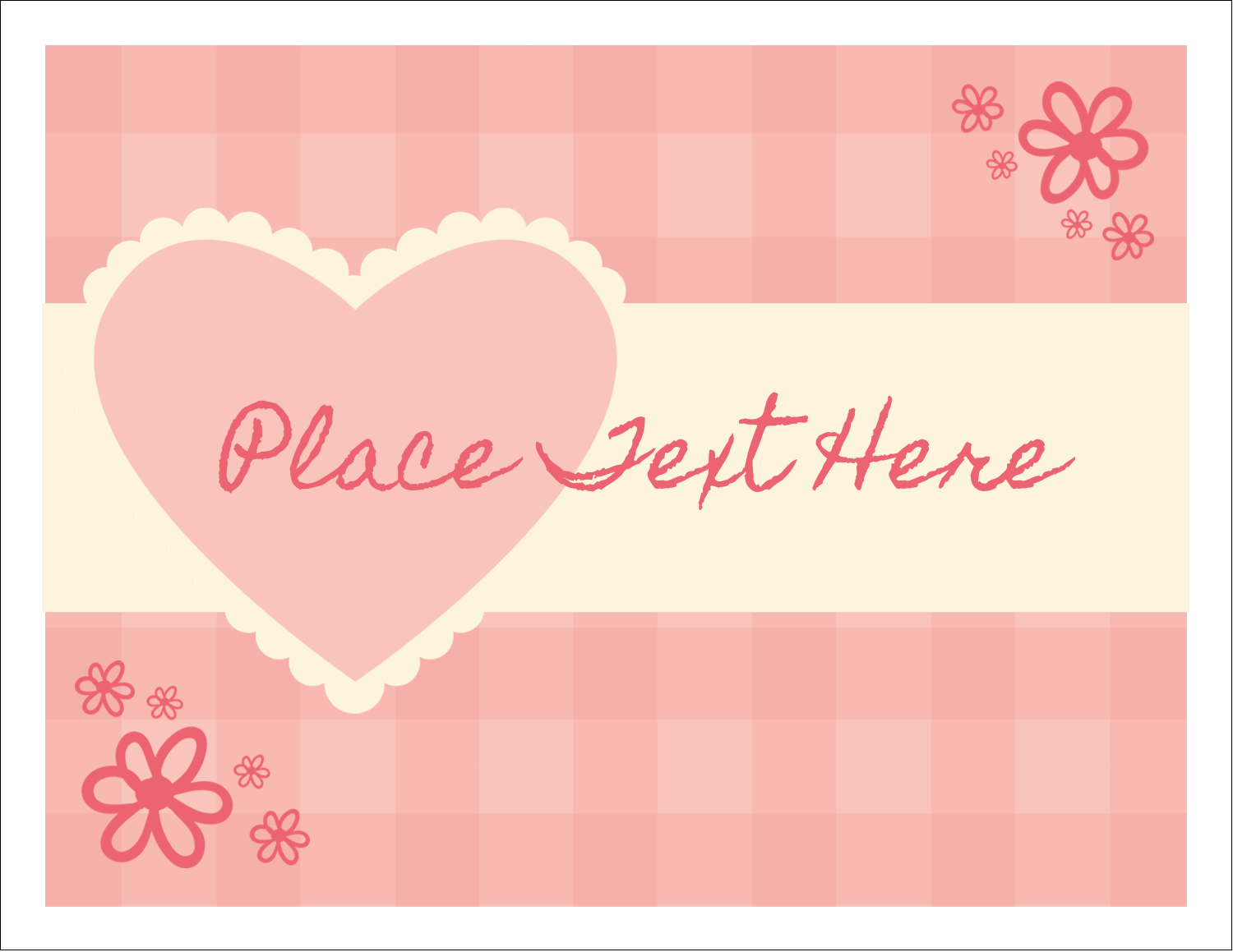 "5½"" x 4¼"" Note Card - Valentine Gingham"