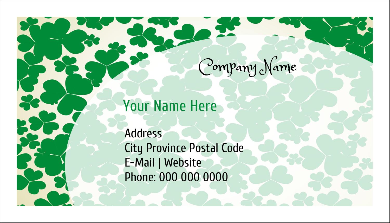 "2"" x 3½"" Business Card - St. Patrick's Shamrock Background"