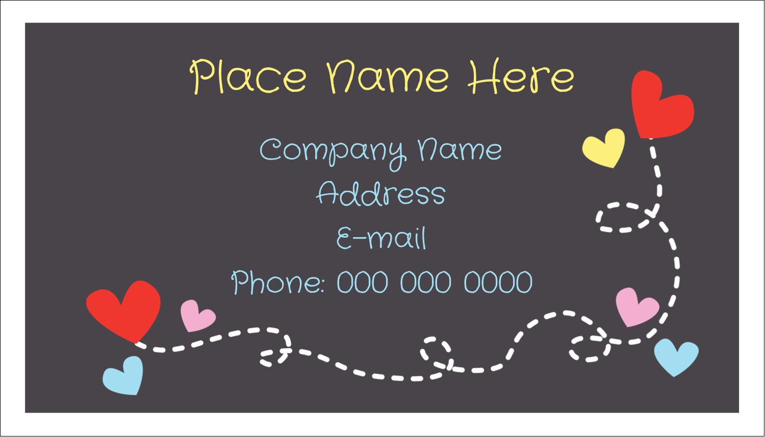 "2"" x 3½"" Business Card - Valentine Black Background"
