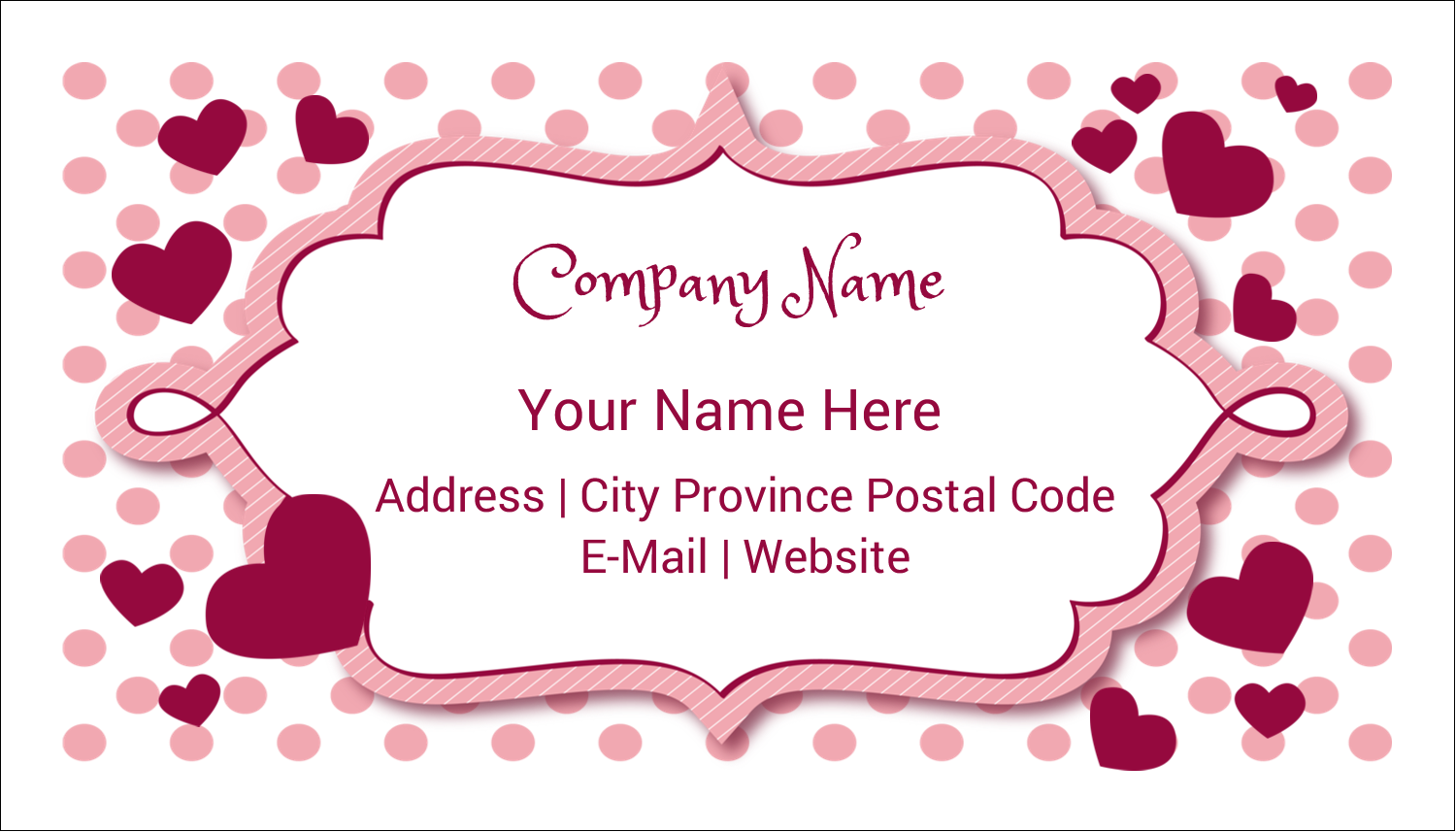 "2"" x 3½"" Business Card - Valentine Bubbles"