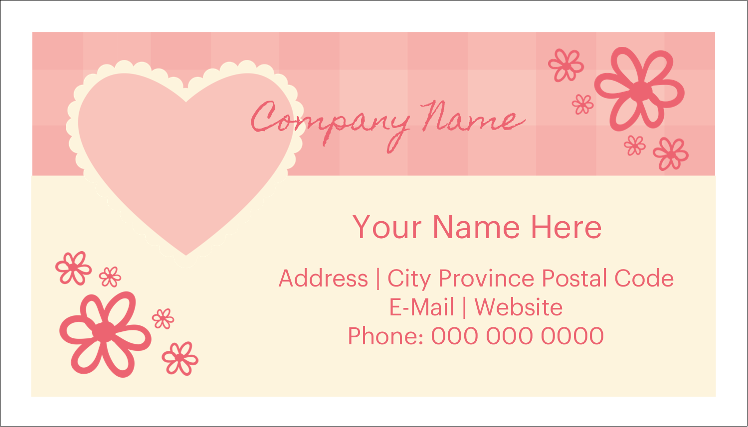 "2"" x 3½"" Business Card - Valentine Gingham"