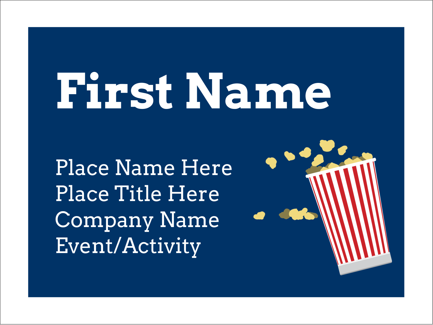 "3"" x 4"" Name Tags - Movie Popcorn"