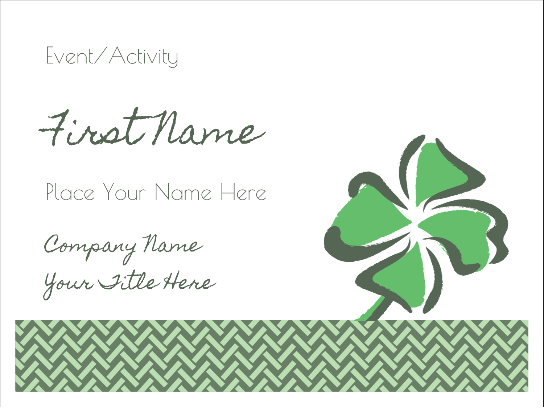 "3"" x 4"" Name Tags - St. Patrick's Shamrock"