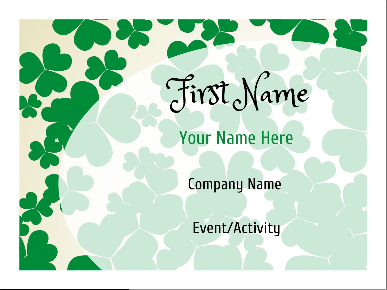 "3"" x 4"" Name Tags - St. Patrick's Shamrock Background"