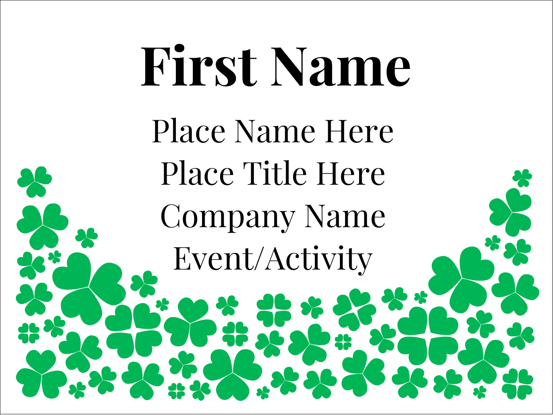 "3"" x 4"" Name Tags - St. Patrick's Shamrock Rain"