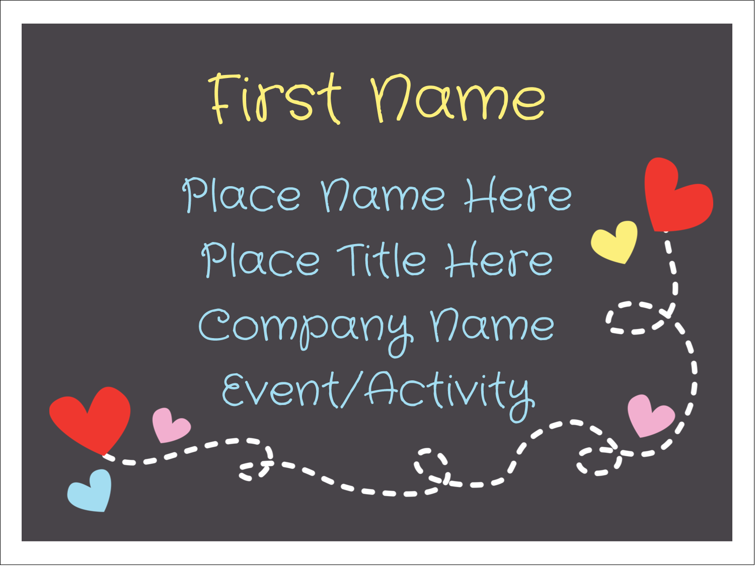 "3"" x 4"" Name Tags - Valentine Black Background"